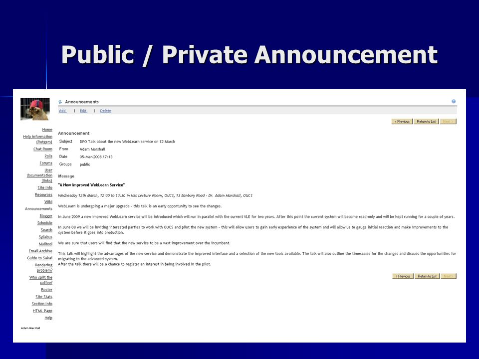 Public / Private Announcement