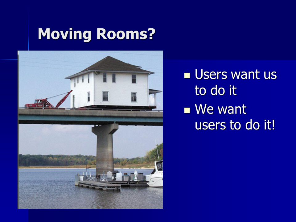 Moving Rooms. Users want us to do it Users want us to do it We want users to do it.