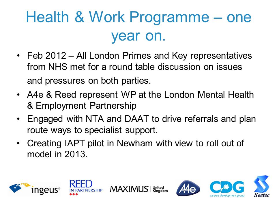 Health & Work Programme – one year on.