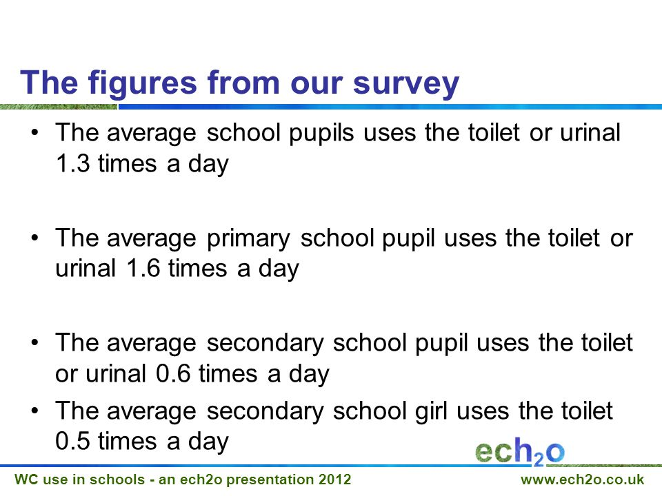 WC use in schools - an ech2o presentation 2012 www.ech2o.co.uk What that means… A secondary school with 1200 pupils, 600 girl pupils.