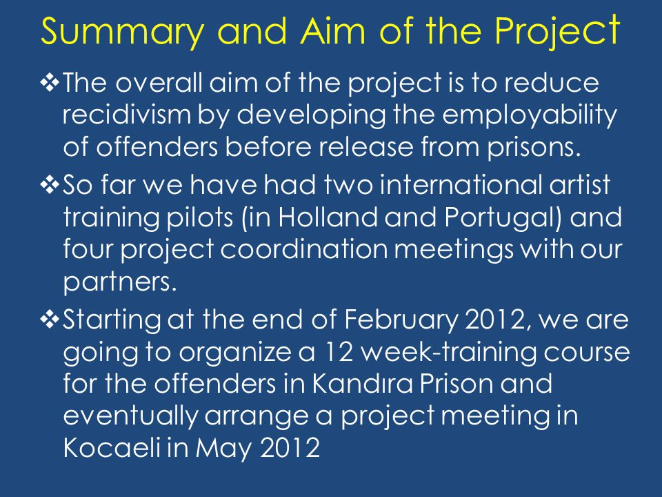 Summary and Aim of the Proje ct  The overall aim of the project is to reduce recidivism by developing the employability of offenders before release from prisons.