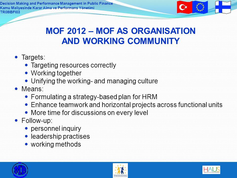 Decision Making and Performance Management in Public Finance Kamu Maliyesinde Karar Alma ve Performans Yönetimi TR08IBFI03 MOF 2012 – MOF AS ORGANISAT