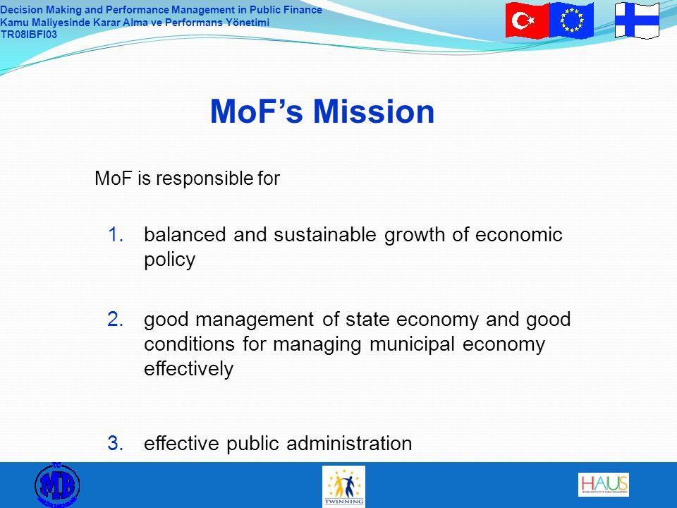 Decision Making and Performance Management in Public Finance Kamu Maliyesinde Karar Alma ve Performans Yönetimi TR08IBFI03 MoF's Mission MoF is respon