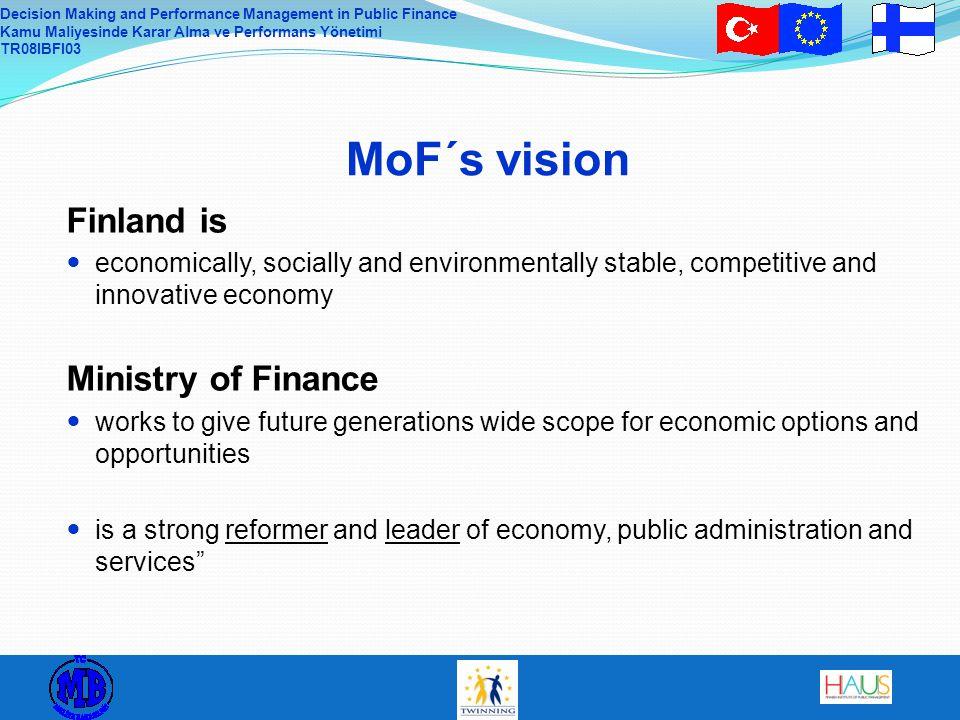 Decision Making and Performance Management in Public Finance Kamu Maliyesinde Karar Alma ve Performans Yönetimi TR08IBFI03 MoF´s vision Finland is eco