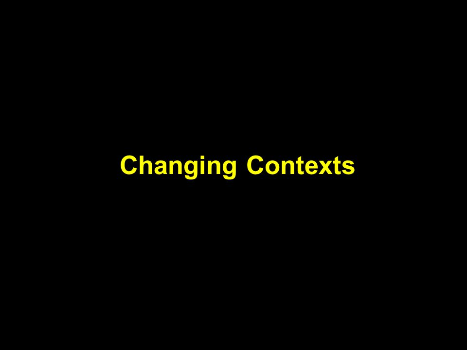 Changing contexts Massive scientific change and exchange New partners, newer alliances needed Pace of change increasing Spiraling private sector investment Public sector remains dominant (60%) Intellectual property rights, environmental and social issues top development agenda Rapid changes in operating environment (strength of NGOs, strong NARS)