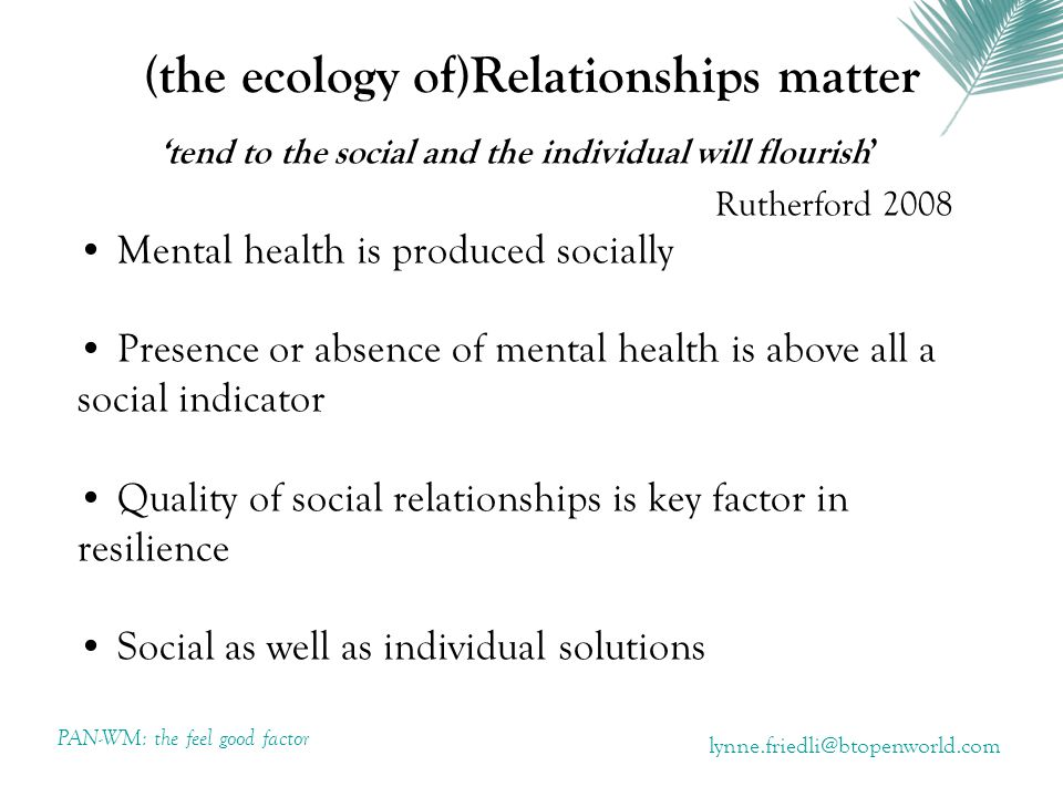 (the ecology of)Relationships matter 'tend to the social and the individual will flourish' Rutherford 2008 Mental health is produced socially Presence or absence of mental health is above all a social indicator Quality of social relationships is key factor in resilience Social as well as individual solutions PAN-WM: the feel good factor