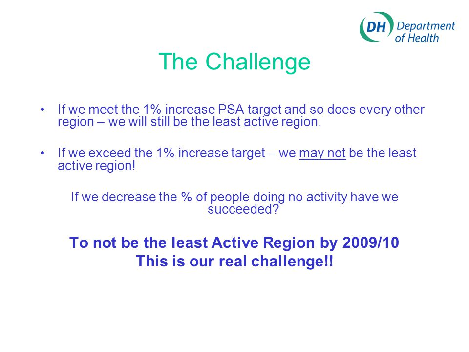 The Challenge If we meet the 1% increase PSA target and so does every other region – we will still be the least active region.