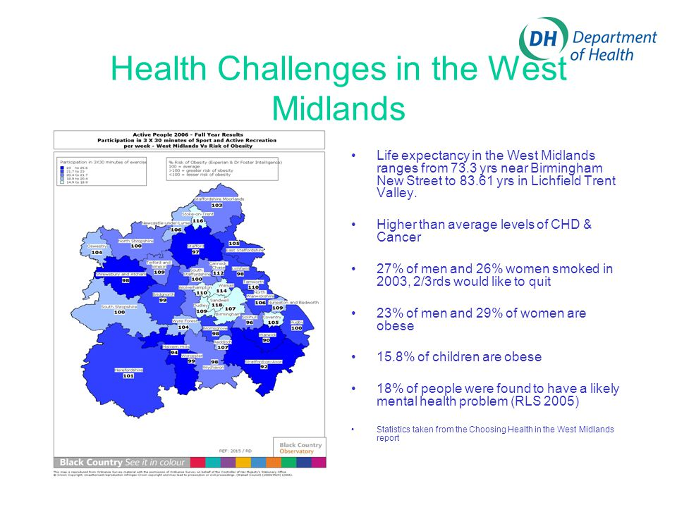 Health Challenges in the West Midlands Life expectancy in the West Midlands ranges from 73.3 yrs near Birmingham New Street to 83.61 yrs in Lichfield Trent Valley.