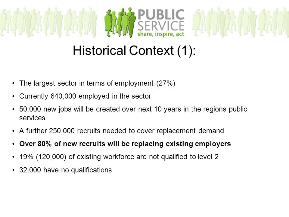 The largest sector in terms of employment (27%) Currently 640,000 employed in the sector 50,000 new jobs will be created over next 10 years in the regions public services A further 250,000 recruits needed to cover replacement demand Over 80% of new recruits will be replacing existing employers 19% (120,000) of existing workforce are not qualified to level 2 32,000 have no qualifications Historical Context (1):