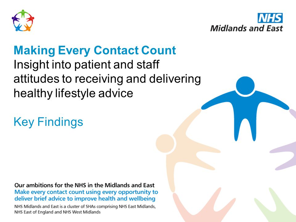 Making Every Contact Count Insight into patient and staff attitudes to receiving and delivering healthy lifestyle advice Key Findings