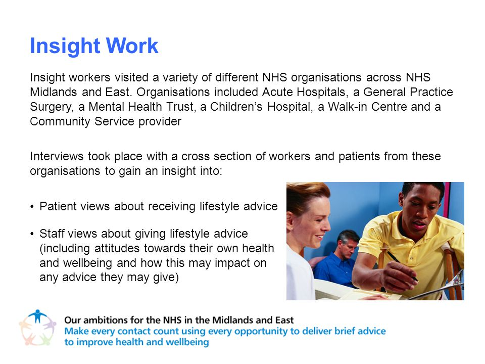 Insight Work Insight workers visited a variety of different NHS organisations across NHS Midlands and East.