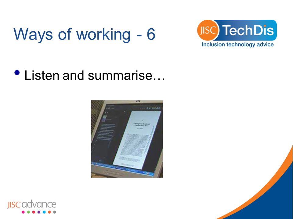 Ways of working - 6 Listen and summarise…