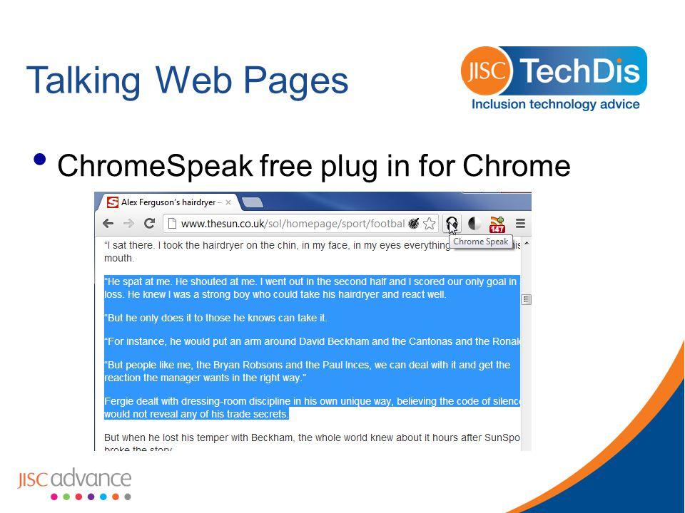 Talking Web Pages ChromeSpeak free plug in for Chrome