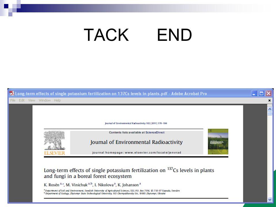 Sveriges lantbruksuniversitet www.slu.se TACK END