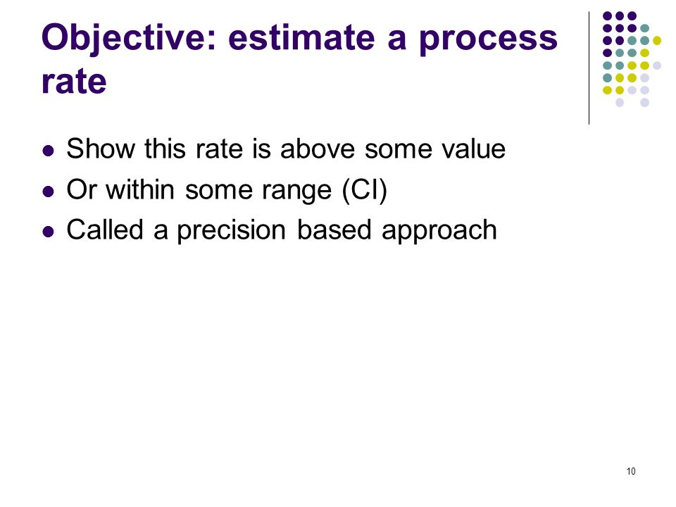 Show this rate is above some value Or within some range (CI) Called a precision based approach ) 10 Objective: estimate a process rate