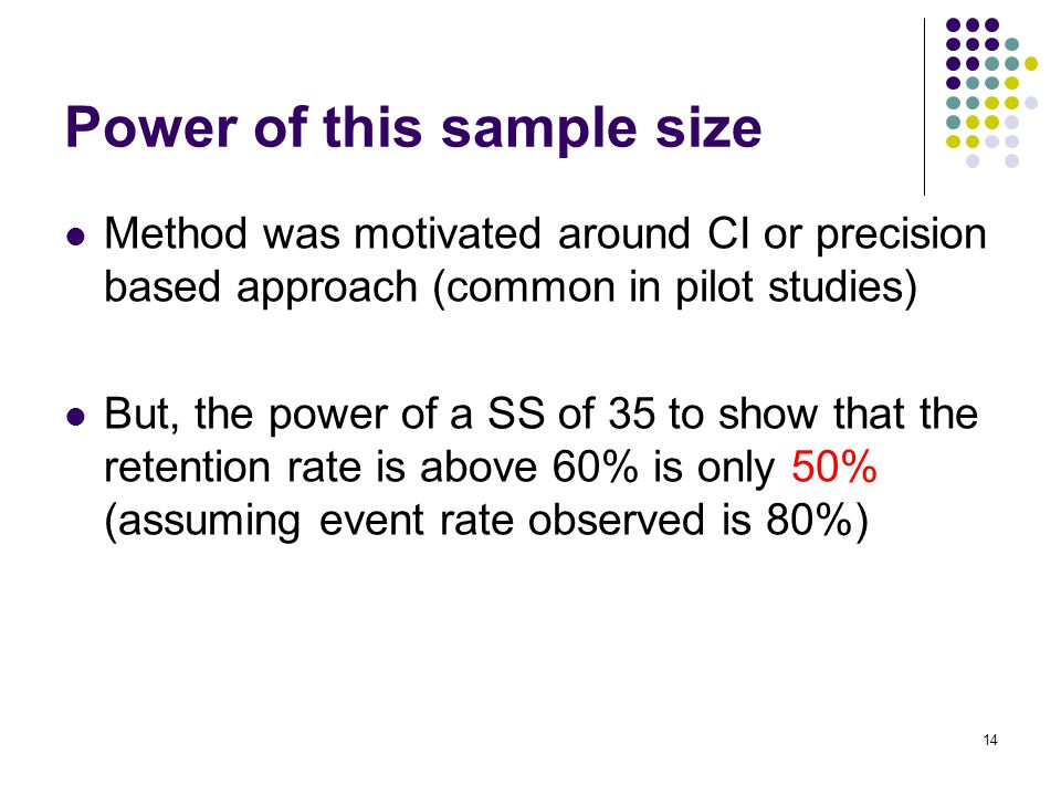 Method was motivated around CI or precision based approach (common in pilot studies) But, the power of a SS of 35 to show that the retention rate is above 60% is only 50% (assuming event rate observed is 80%) 14 Power of this sample size