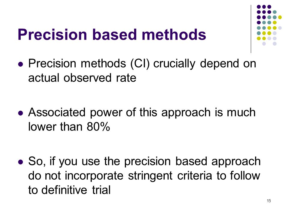 Precision methods (CI) crucially depend on actual observed rate Associated power of this approach is much lower than 80% So, if you use the precision based approach do not incorporate stringent criteria to follow to definitive trial 15 Precision based methods
