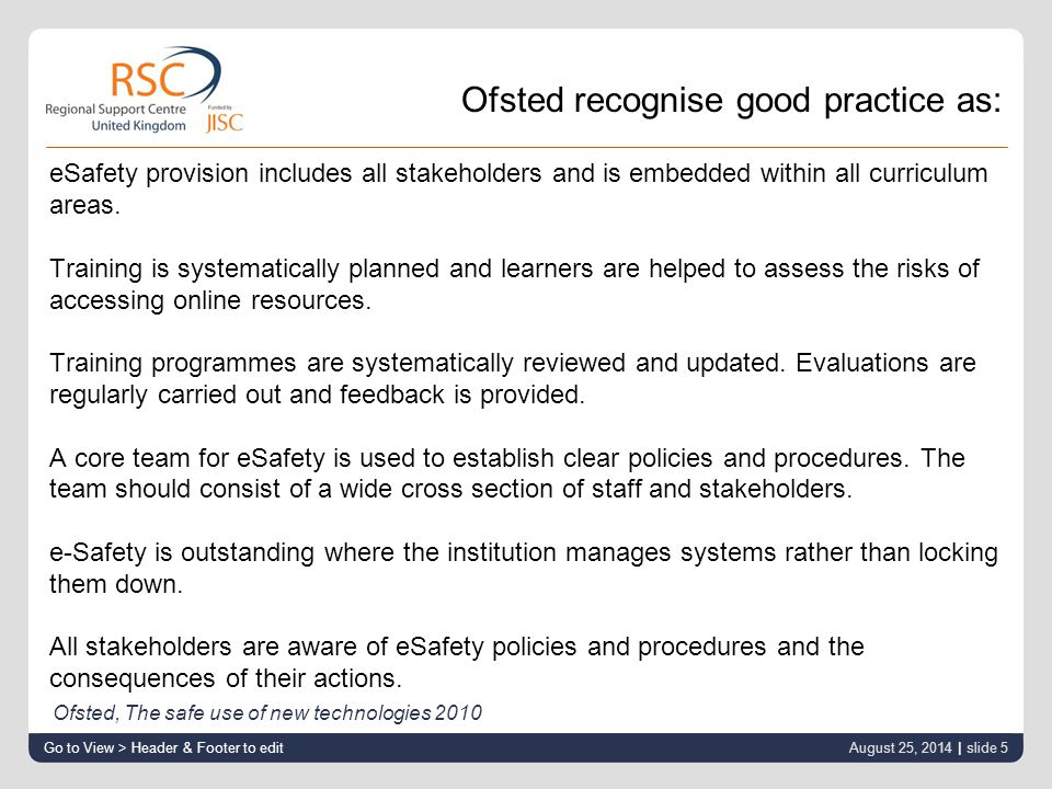 eSafety provision includes all stakeholders and is embedded within all curriculum areas.