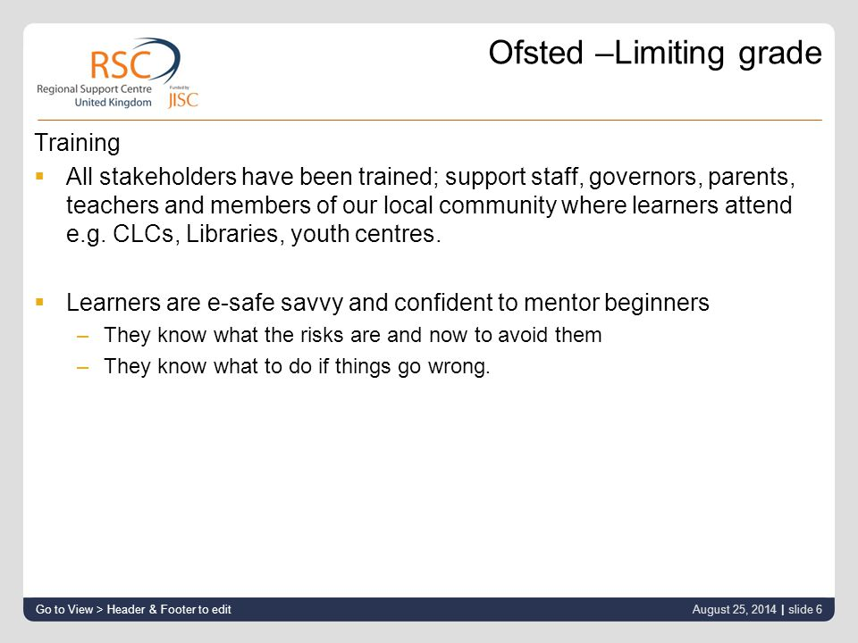 Ofsted –Limiting grade Training  All stakeholders have been trained; support staff, governors, parents, teachers and members of our local community where learners attend e.g.