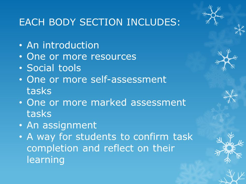 EACH BODY SECTION INCLUDES: An introduction One or more resources Social tools One or more self-assessment tasks One or more marked assessment tasks A