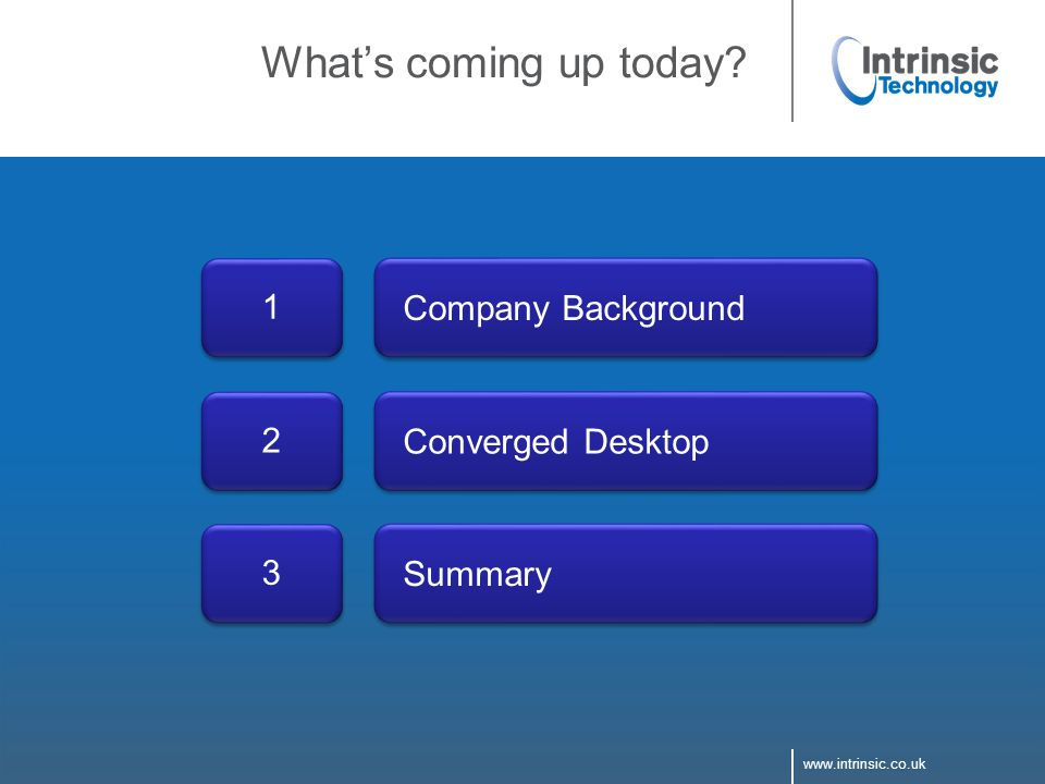 www.intrinsic.co.uk What's coming up today? Converged Desktop 2 Summary 3 Company Background 1