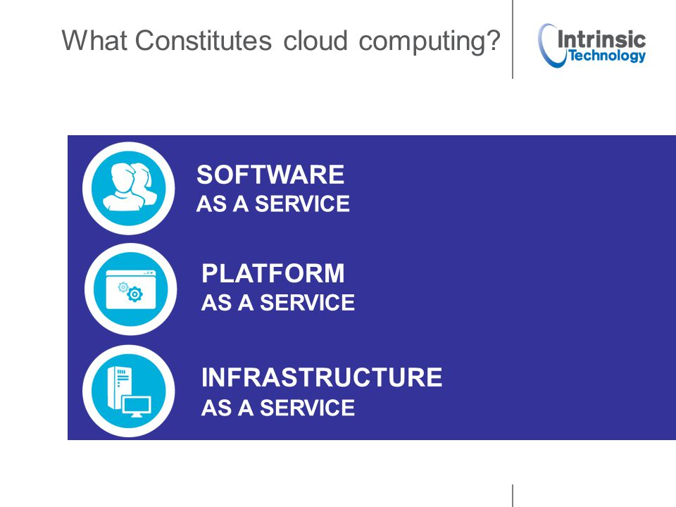 What Constitutes cloud computing? SOFTWARE AS A SERVICE PLATFORM AS A SERVICE INFRASTRUCTURE AS A SERVICE