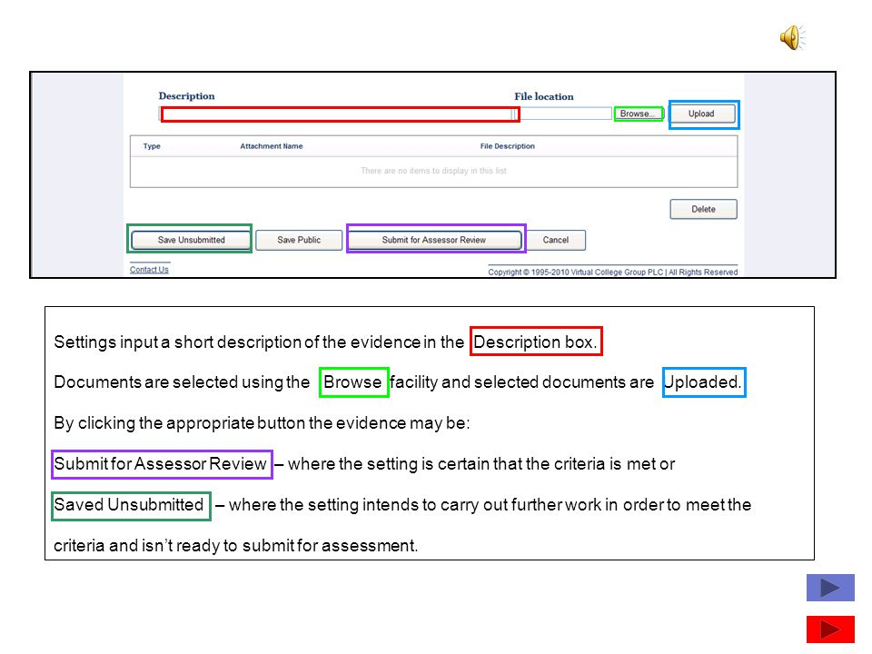 Settings input a short description of the evidence in the Description box.