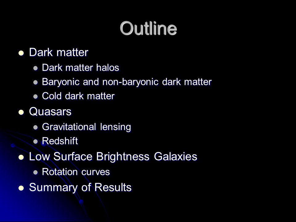 Outline Dark matter Dark matter Dark matter halos Dark matter halos Baryonic and non-baryonic dark matter Baryonic and non-baryonic dark matter Cold dark matter Cold dark matter Quasars Quasars Gravitational lensing Gravitational lensing Redshift Redshift Low Surface Brightness Galaxies Low Surface Brightness Galaxies Rotation curves Rotation curves Summary of Results Summary of Results