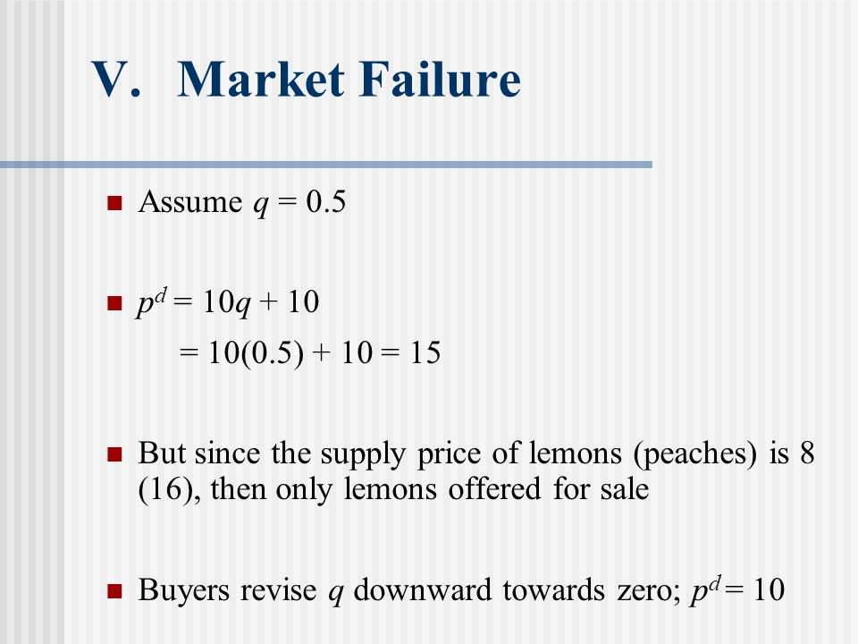 V.Market Failure Assume q = 0.5 p d = 10q + 10 = 10(0.5) + 10 = 15 But since the supply price of lemons (peaches) is 8 (16), then only lemons offered for sale Buyers revise q downward towards zero; p d = 10