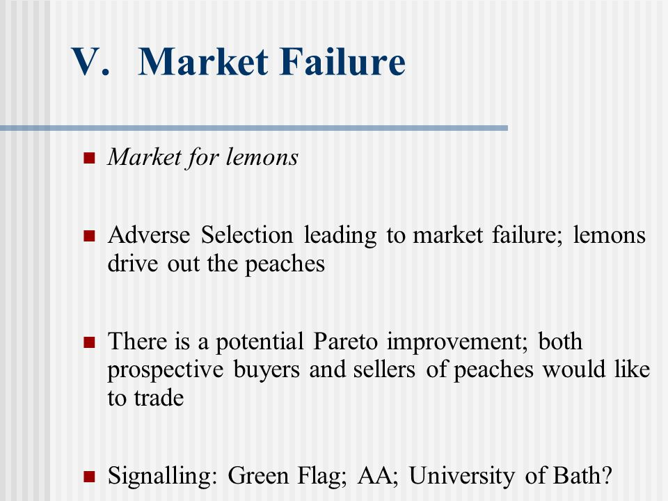 V.Market Failure Market for lemons Adverse Selection leading to market failure; lemons drive out the peaches There is a potential Pareto improvement; both prospective buyers and sellers of peaches would like to trade Signalling: Green Flag; AA; University of Bath?