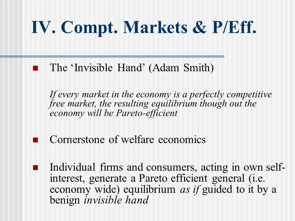 V.Market Failure Information Asymmetric information; one side to the contract / exchange knows more than the other Akerlof, G.
