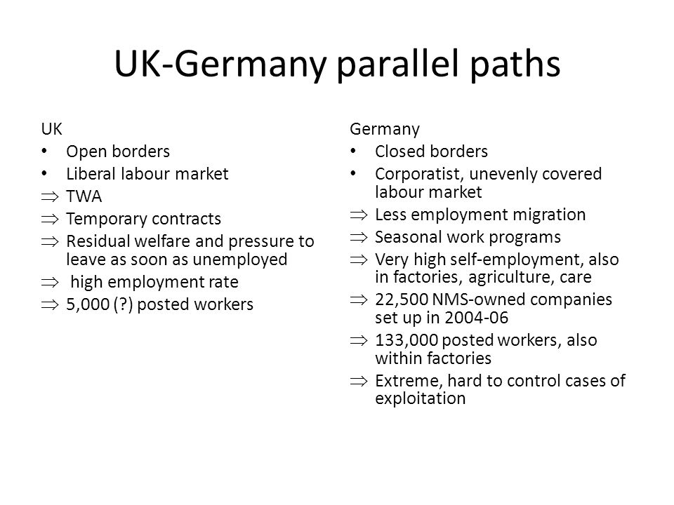 UK-Germany parallel paths UK Open borders Liberal labour market  TWA  Temporary contracts  Residual welfare and pressure to leave as soon as unempl