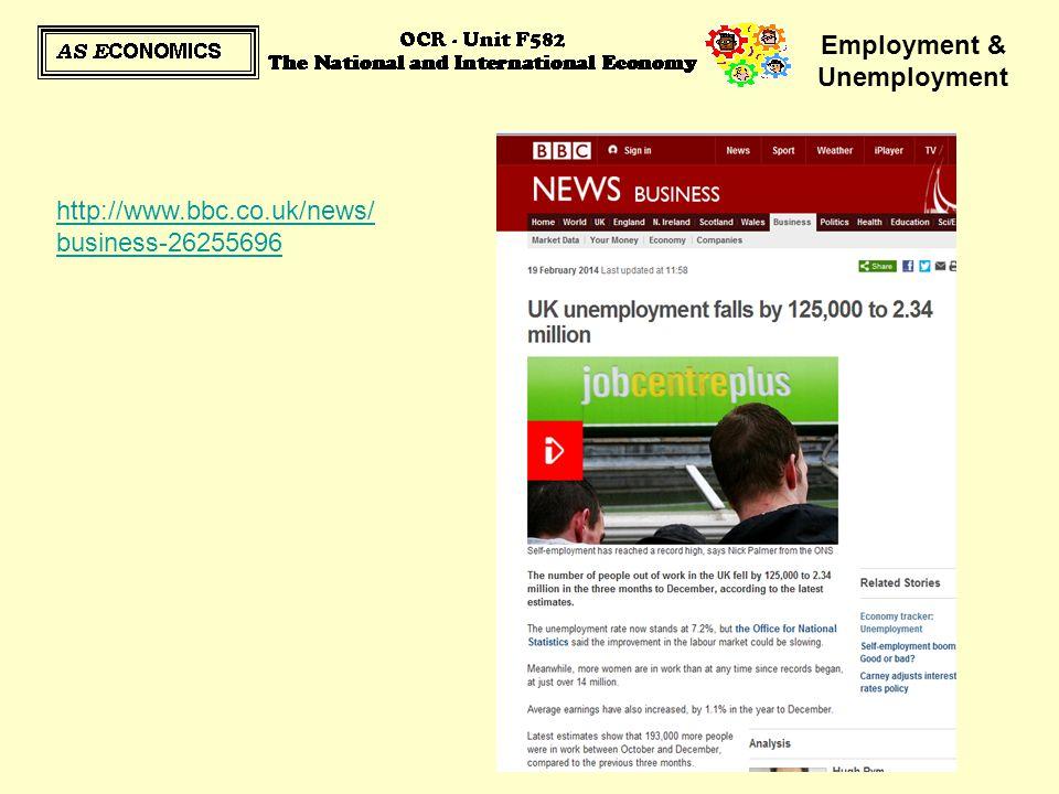 Employment & Unemployment http://www.bbc.co.uk/news/ business-26255696