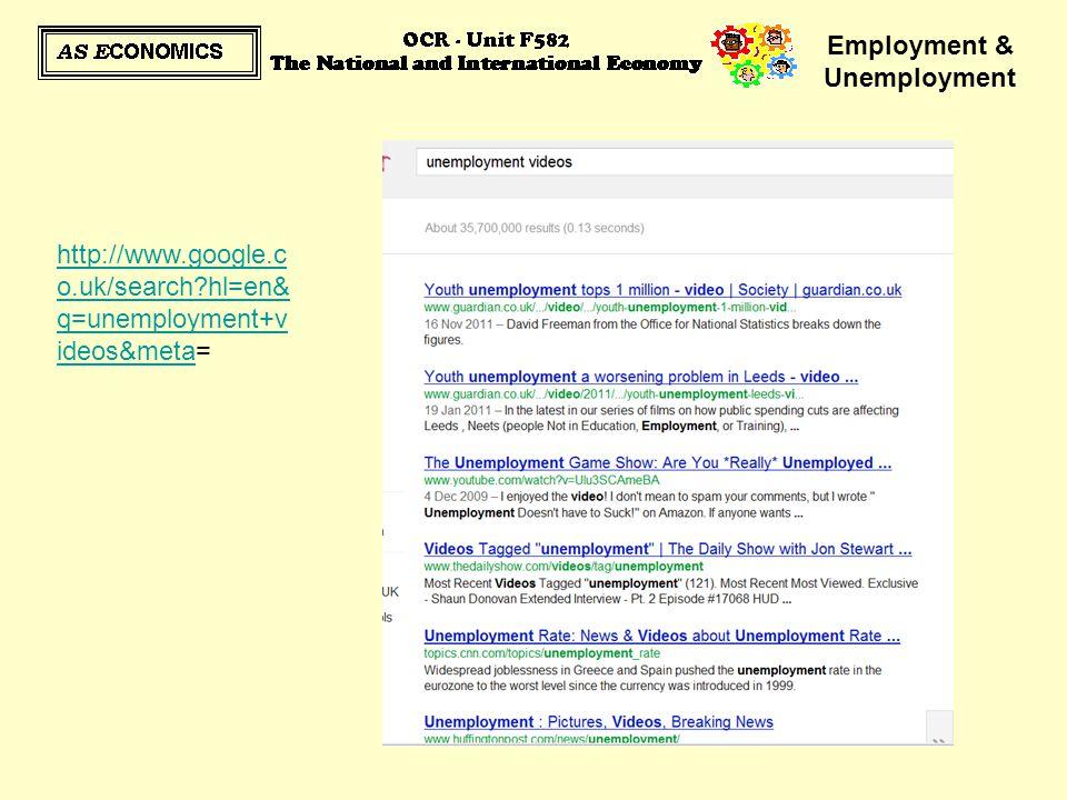Employment & Unemployment http://www.google.c o.uk/search?hl=en& q=unemployment+v ideos&metahttp://www.google.c o.uk/search?hl=en& q=unemployment+v id
