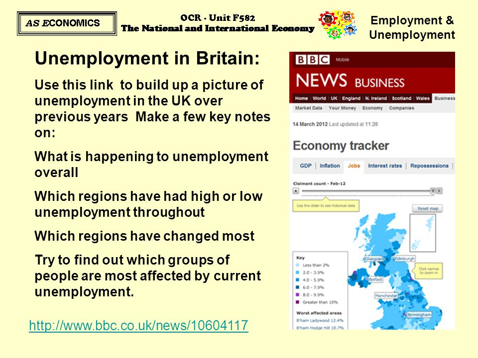 Employment & Unemployment Unemployment in Britain: Use this link to build up a picture of unemployment in the UK over previous years Make a few key no