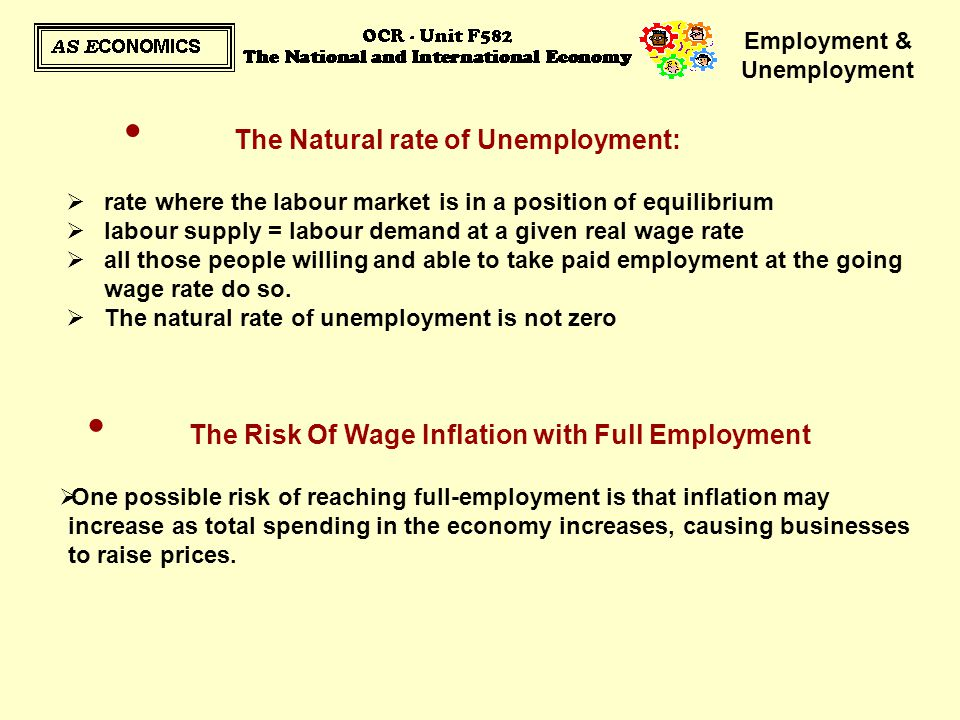 Employment & Unemployment The Risk Of Wage Inflation with Full Employment  One possible risk of reaching full-employment is that inflation may increa