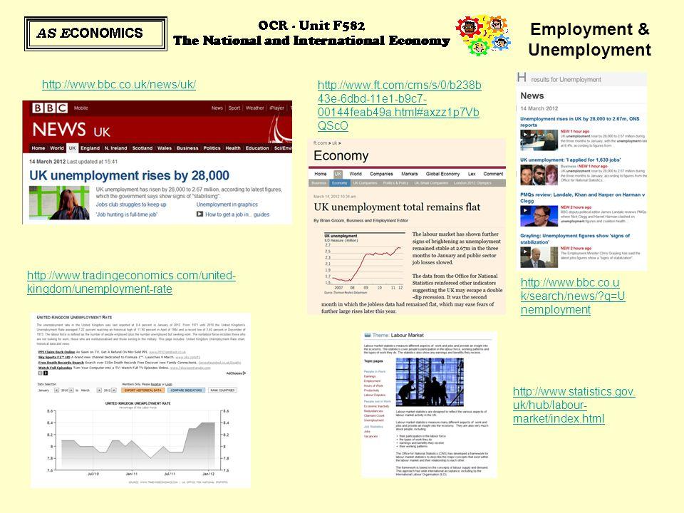 Employment & Unemployment http://www.bbc.co.uk/news/uk/ http://www.bbc.co.u k/search/news/?q=U nemployment http://www.tradingeconomics.com/united- kin