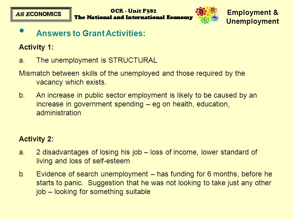 Employment & Unemployment Answers to Grant Activities: Activity 1: a.The unemployment is STRUCTURAL Mismatch between skills of the unemployed and thos