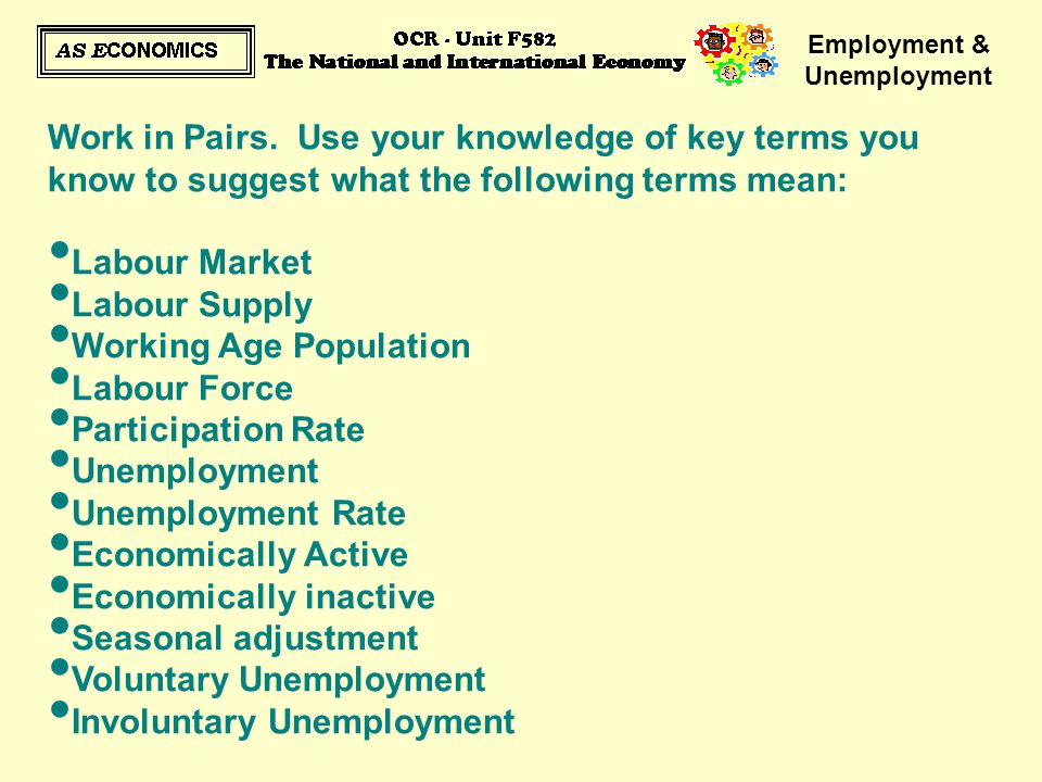 Employment & Unemployment Work in Pairs. Use your knowledge of key terms you know to suggest what the following terms mean: Labour Market Labour Suppl
