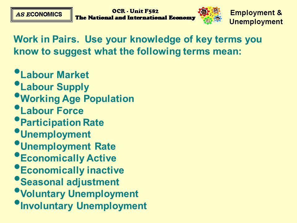 Employment & Unemployment Work in Pairs.
