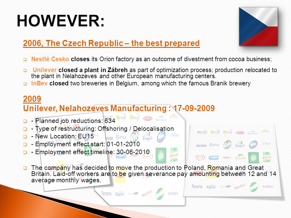 2006, The Czech Republic – the best prepared  Nestlé Cesko closes its Orion factory as an outcome of divestment from cocoa business;  Unilever closed a plant in Zábreh as part of optimization process; production relocated to the plant in Nelahozeves and other European manufacturing centers.