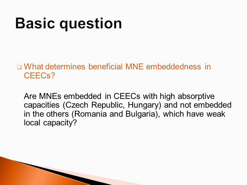  What determines beneficial MNE embeddedness in CEECs.