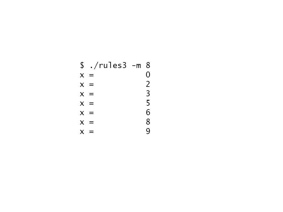 $./rules3 -m 8 x = 0 x = 2 x = 3 x = 5 x = 6 x = 8 x = 9