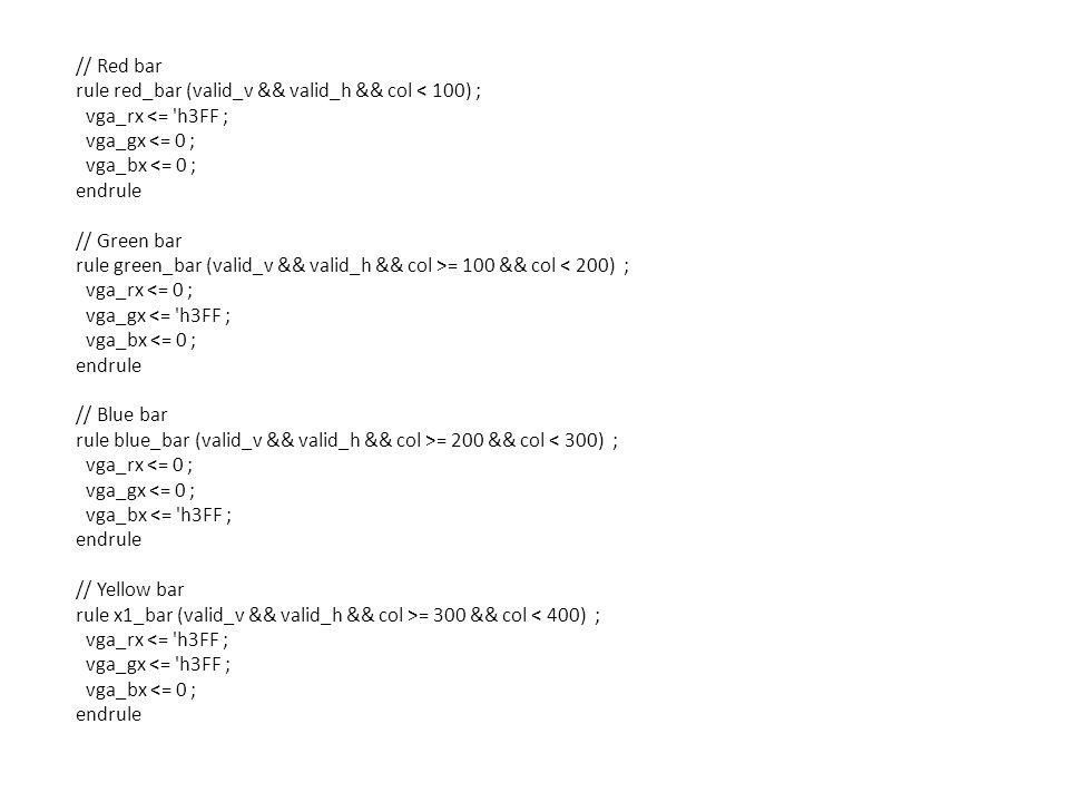 // Red bar rule red_bar (valid_v && valid_h && col < 100) ; vga_rx <= h3FF ; vga_gx <= 0 ; vga_bx <= 0 ; endrule // Green bar rule green_bar (valid_v && valid_h && col >= 100 && col < 200) ; vga_rx <= 0 ; vga_gx <= h3FF ; vga_bx <= 0 ; endrule // Blue bar rule blue_bar (valid_v && valid_h && col >= 200 && col < 300) ; vga_rx <= 0 ; vga_gx <= 0 ; vga_bx <= h3FF ; endrule // Yellow bar rule x1_bar (valid_v && valid_h && col >= 300 && col < 400) ; vga_rx <= h3FF ; vga_gx <= h3FF ; vga_bx <= 0 ; endrule