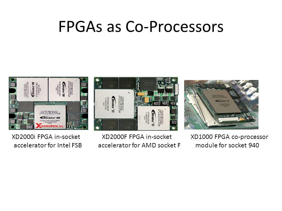FPGAs as Co-Processors XD2000i FPGA in-socket accelerator for Intel FSB XD2000F FPGA in-socket accelerator for AMD socket F XD1000 FPGA co-processor module for socket 940