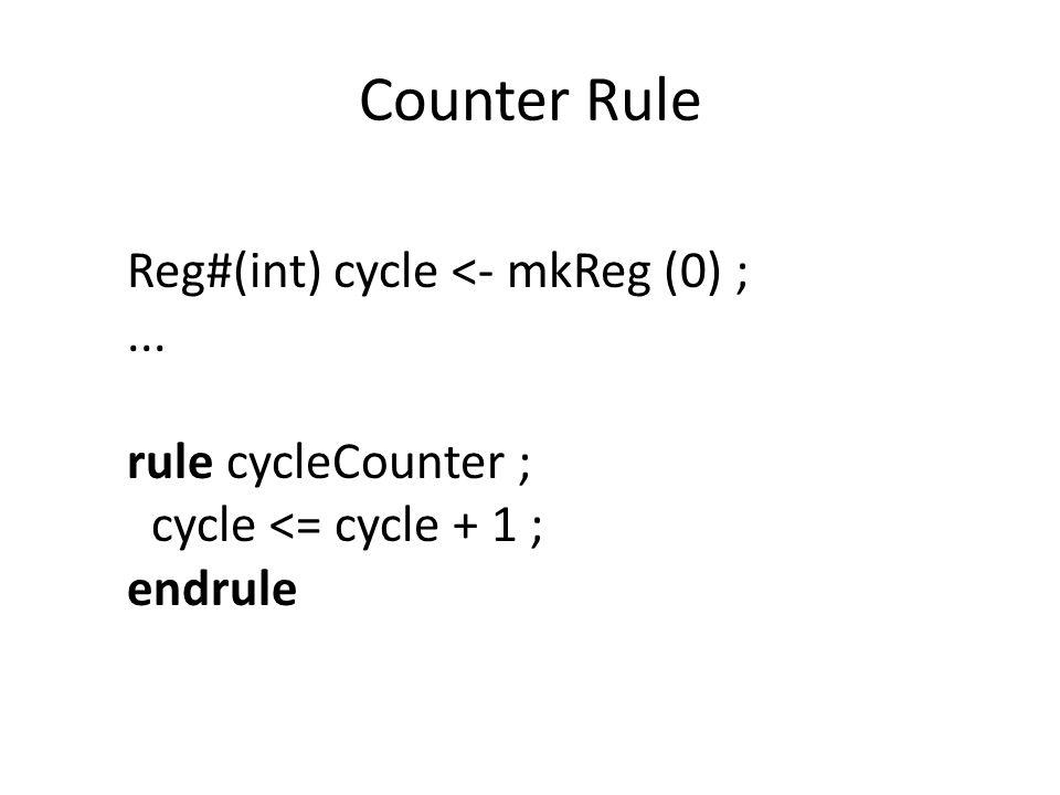 Counter Rule Reg#(int) cycle <- mkReg (0) ;... rule cycleCounter ; cycle <= cycle + 1 ; endrule