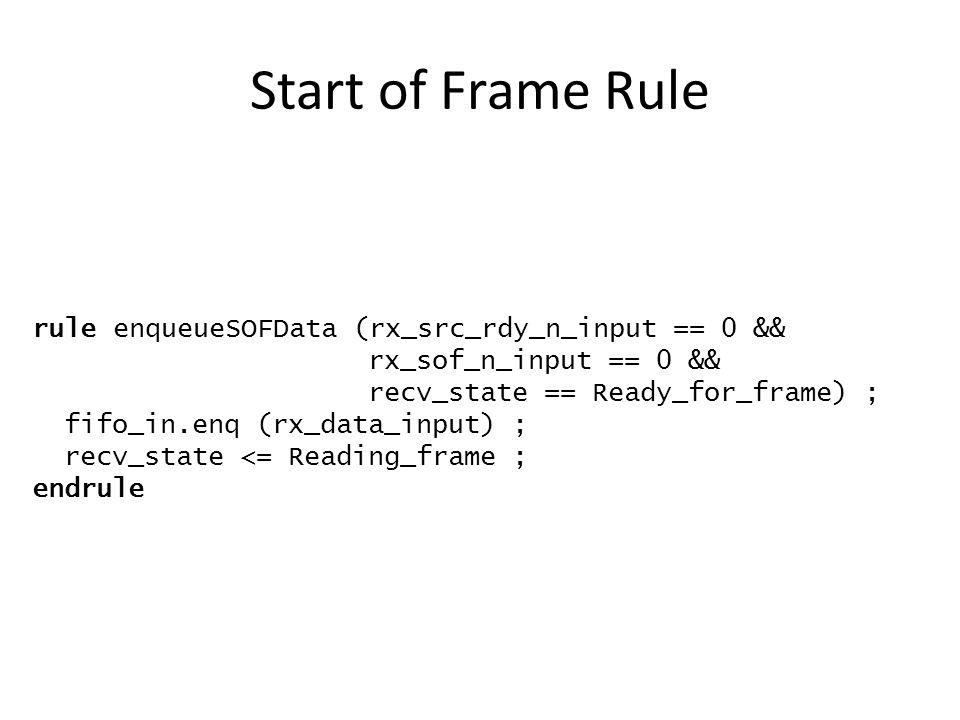Start of Frame Rule rule enqueueSOFData (rx_src_rdy_n_input == 0 && rx_sof_n_input == 0 && recv_state == Ready_for_frame) ; fifo_in.enq (rx_data_input) ; recv_state <= Reading_frame ; endrule