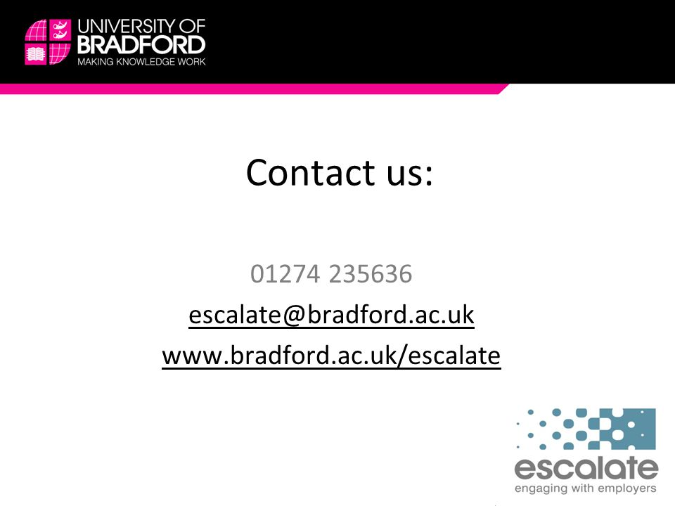 Contact us: 01274 235636 escalate@bradford.ac.uk www.bradford.ac.uk/escalate