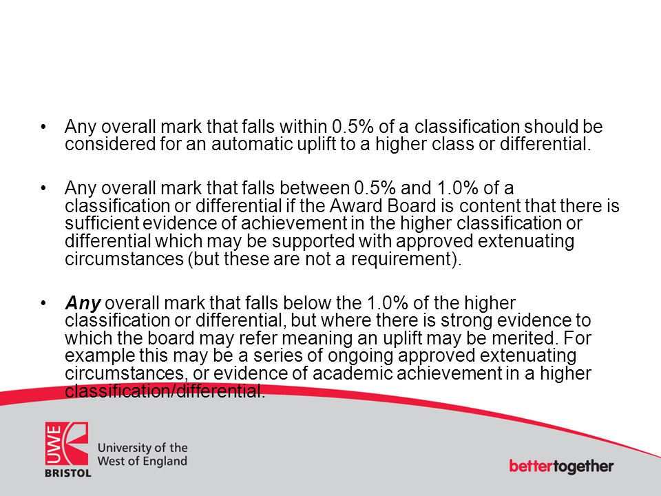 Any overall mark that falls within 0.5% of a classification should be considered for an automatic uplift to a higher class or differential. Any overal