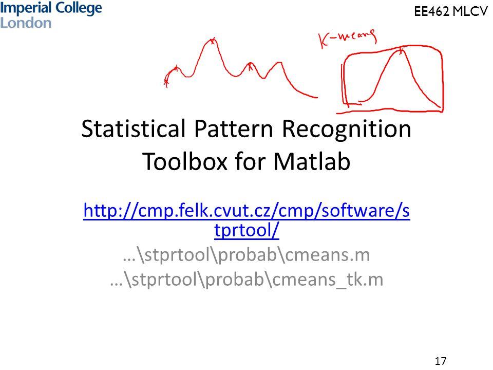 EE462 MLCV 17 Statistical Pattern Recognition Toolbox for Matlab http://cmp.felk.cvut.cz/cmp/software/s tprtool/ …\stprtool\probab\cmeans.m …\stprtool